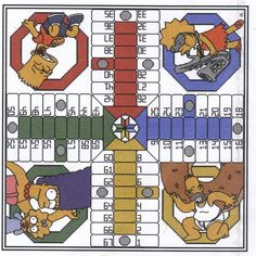 Cross stitch parchise game board the simpsons Cross Stitch Boards, Just Cross Stitch, Gato Crochet, Stitch Games, Retro Cartoons, Cross Stitch Patterns, Board Games, Kids Rugs, Stickers