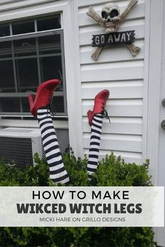DIY Wicked Witch Legs- The Best DIY Halloween decorations for outdoor and yard to turn your porch into a haunted house. How to make graveyards, spider webs, chicken wire ghosts and other awesome and scary. These are so easy to make even kids can do them. Spooky Halloween Decorations, Holidays Halloween, Halloween Crafts, Hollween Decorations, Halloween Witches, Halloween Horror, Halloween Pumpkins, Halloween Decorating Ideas, Halloween Porch Decorations