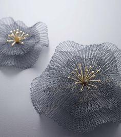 Flower - sowonjoo studio Sterling silver(oxidized), 18k yellow gold, diamonds