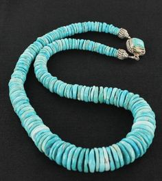 SLEEPING BEAUTY TURQUOISE NECKLACE GRADUATED DISC BEADS from New World Gems