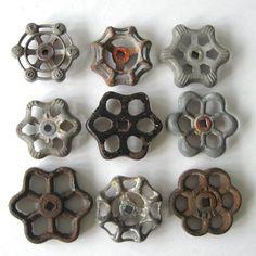 9 vintage faucet handles, silver, black, rust valve handles, rustic, primitive, industrial, metal water knobs, group 240. $24.00, via Etsy.