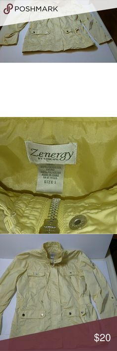 Yellow size 1 women's light weight jacket Beautiful wind breaker no wear good condition beautiful product zenergy by chico's Jackets & Coats