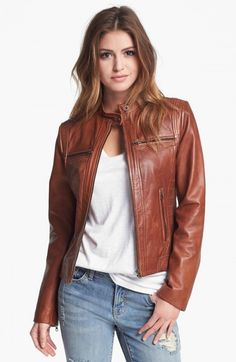 Bernardo Tab Collar Leather Jacket Regular Petite Nordstrom Exclusive | Coat, Jacket and Clothing