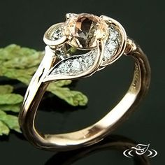 rose gold peach sapphire ring at Green Lake Jewelry Works