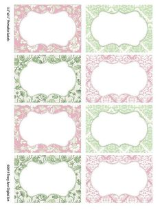 Damask Soft Pink and Sage  Print your own Labels/Cards (Sarah)