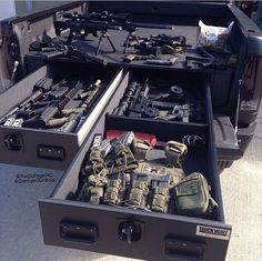 Guns and Gear (Truck Vault)Outdoor Gear Broker Adventure Pics from all over our cool planet! is a little niche, multi-seller site for gear, custom wares and more. Tactical Truck, Tactical Equipment, Tactical Gear, Tactical Wall, Weapon Storage, Gun Storage, Storage Ideas, Truck Bed Storage, Bug Out Vehicle