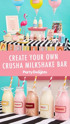 DIY Crusha Milkshake Bar with FREE Printouts! Looking for something to make you … - Diy Event Ideas Cafeteria Retro, Colorful Baby Showers, Healthy Breakfast Choices, Catering Food Displays, Sweet Carts, Smoothie Bar, Décor Ideas, Party Ideas, Food Bars