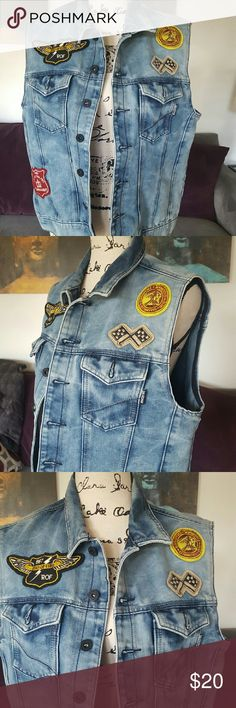 Ring of Fire Denim Vest - M Denim Ring of Fire Vest featuring button front, outside pockets and original patches. Ring of Fire Jackets & Coats Vests
