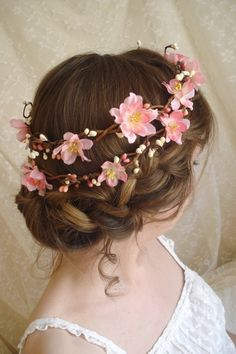 cherry blossom flower head wreath, would be super cute for a flower girl! - Never mind weddings lol