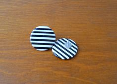 Black and White Striped Circle Earrings
