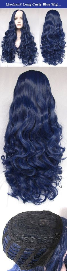 "Liaohan® Long Curly Blue Wig Synthetic Blue Hair Wigs for Women with free Wig Cap. Hot Sale Long Curly Blue Wig Synthetic full Wig with Classic Cap 26"" Long 320gram Featured as: Blue Wig ; Blue Hair ; Highlights Wig ; Long Curly Wig Material: Heat Resistant Synthetic Hair Color: Blue Length: 26inches Weight: 320gram Note: We are direct hair factory to offer customized designs. ."