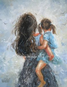 Mother Daughter Art Print of original painting  mom little girl motherhood carrying girls room blue brown gray wall decor Vickie Wade (20.00 USD) by VickieWadeFineArt