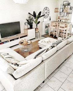 XXL convertible sofa with BOHO Bobochic chest - - Living Room Decor On A Budget, Boho Chic Living Room, Big Living Rooms, Living Room Trends, Living Room Inspiration, Home Decor Bedroom, Living Room Designs, Beige Couch, Apartment Living