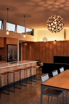 Clerestory windows provide passive ventilation as necessary. Natural materials were used extensively. New Zealand Holidays, Clerestory Windows, Life Design, Home Reno, Table Desk, Beach House, Dining, Furniture, House Architecture