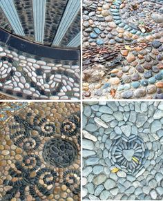 Pebble Mosaics are garden art that like shell mosaics, celebrate natural materials that may be locally available.  I love the idea making a garden 'carpet' from time collected stones.  This one was made by Jeffery Bale for this article in Fine Gardening. He also made this terrific path Maggy Howarth is considered the modern day …