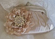 Champagne Crystal Frame Satin Clutch with by theraggedyrose, $75.00