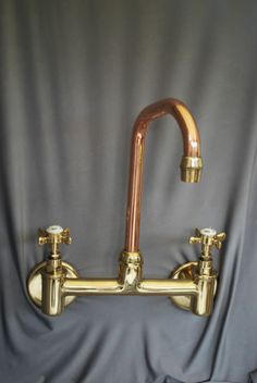 BRASS-COPPER-WALL-MTD-MIXER-TAPS-IDEAL-BELFAST-SINK-RECLAIMED-FULLY-REFURBED