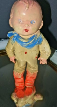 antique rubber cowboy doll by UniqueFemme on Etsy, $35.00