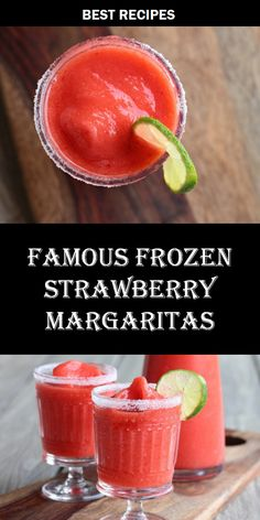 Famous Strawberry Margaritas Famous Strawberry Margaritas,Modern Crumb Recipes Seriously the best strawberry Blended not mixed, so they stay nice and cold. These strawberry margaritas are always the first to go at parties and. Frozen Margaritas, Frozen Strawberry Margarita, Frozen Drinks, Frozen Margarita Recipes, Strawberry Daquiri, Strawberry Margarita Recipe On The Rocks, Frozen Strawberry Recipes, Margarita Party, Frozen Drink Recipes