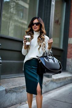 Nice 49 Cool Winter Outfits Ideas With Pencil Skirt. More at https://wear4trend.com/2018/01/19/49-cool-winter-outfits-ideas-pencil-skirt/