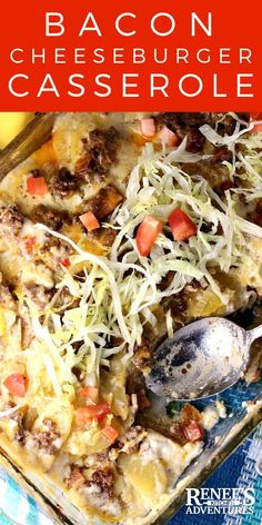 Cheeseburger Casserole Recipe by Renee's Kitchen Adventures - easy recipe for a lasagna type casserole made with #BestAngusBeef ground beef, bacon, and potatoes nestled in creamy, cheesy sauce baked up bubbly and hot! Great main dish meal for #Tailgating or crowds! #cheeseburgercasserole #cheeseburger #steakholder #casserole #comfortfood #baconcheeseburger AD