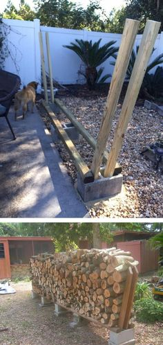 You want to build a outdoor firewood rack? Here is a some firewood storage and creative firewood rack ideas for outdoors. Lots of great building tutorials and DIY-friendly inspirations! Outdoor Firewood Rack, Firewood Shed, Firewood Storage, Outdoor Storage, Firewood Holder, Diy Garden, Garden Ideas, Fire Pit Backyard, Diy Holz