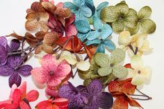 54 Silk Hydrangea Blossoms in 9 Mixed Colors - Cream, Turquoise Blue, Olive Green, Mauve Pink, Purple, Orange, Brown, Red