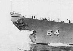 Damaged bow of USS Wisconsin, circa May-Jun 1956