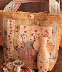 Hand embroidery - little sewing bag and angel scissor minder