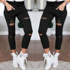 New 2016 Skinny Jeans Women Denim Pants Holes Destroyed Knee Pencil Pants Casual Trousers Black White Stretch Ripped Jeans - Christmas Deesserts Sexy Jeans, Womens Ripped Jeans, Ripped Skinny Jeans, Denim Jeans, Jeans Women, Skinny Pants, Ripped Knees, Skinny Fit, Slim Pants
