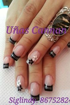 Nail art: black French tips & flowers
