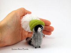 Needle felted raccoon raccoon toy tiny felted raccon animals