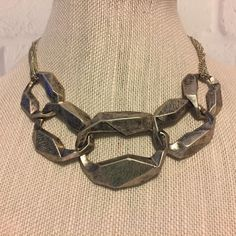 Chunky Silver Tone Links Vintage Costume Choker Necklace