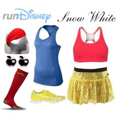 """""""Snow White Disney Running Outfit"""" by mamaspartydress on Polyvore"""