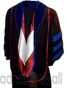 Deluxe Doctoral hood - In stock PhD dark blue/Maroon/White-$69.95