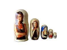 Matryoshka Jennifer Aniston. 5 Piece Nesting Doll