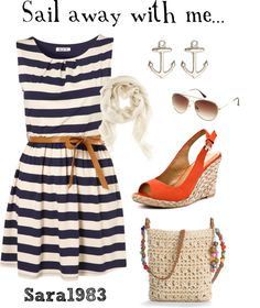 Sail away with me..., created by saraemersonhb on Polyvore. My style minus the shoes bag and scarf.