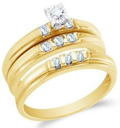 10K Yellow Gold Diamond Mens and Ladies Couple His
