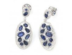 5.30 ctw Sapphire & 1.12 ctw Diamond 14K White Gold Dangle Earrings