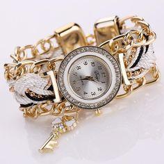 Fashion Key Luxury Gold Crystal Bracelet Wristwatch