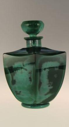 Bohemian Czech Jade Malachite Green Opaque Glass Perfume Bottle   Curt Schlevogt Heinrich Hoffmann glassworks Jablonec nad Nisou (Gablonz-Sudetenland)  Designed Bruno Mauder in 1934