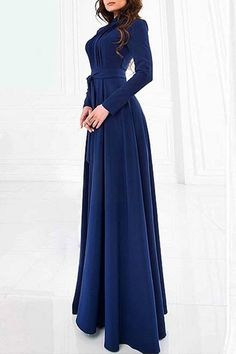 Solid Color Stand Neck Long Sleeve Maxi Dress PURPLISH BLUE: Maxi Dresses | ZAFUL