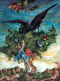 "Dietrich Schuchardt ""The Crow Nyctimene"" 2004 gouache painting. Gallery of Surrealism - Paintings, drawings, graphics, and books related to Surrealist, Neo-Romantic, and Fantastic art."