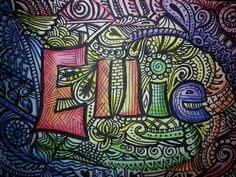 """Zentanlged name. Watercolor background, zentangle over, finished with color pencil shading for depth. 5"""" x 7"""""""