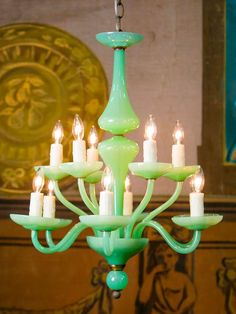 Love this creamy opalescent jade glass! Vintage Hand Blown Jade-Colored Murano Chandelier | From a unique collection of antique and modern chandeliers and pendants at http://www.1stdibs.com/furniture/lighting/chandeliers-pendant-lights/