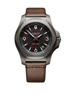 VICTORINOX SWISS ARMY Inox Titanium & Leather Watch. #victorinoxswissarmy #