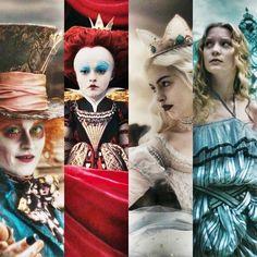 le chapelier, la reine rouge, la reine blanche et alice