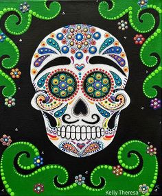 Sugar Skull artwork is complete! 😊 This was really a fun painting to create 💕 I will definitely be making some art cards from this one 😁 Sugar Skull Painting, Painting Gallery, Dots Art, Skull Artwork, Dot Art Painting, Painting, Artwork, Skull Painting, Card Art