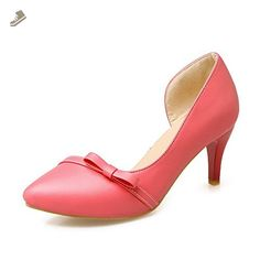 A&N Womens Bows Pointed-Toe No-Closure Red Urethane Pumps-Shoes - 5 B(M) US - An pumps for women (*Amazon Partner-Link)