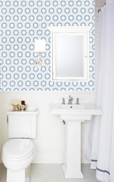 Removable Wallpaper Made In Usa L Stick Self Adhesive Temporary Blue And White Painted Designer Wall Paper Powder Room Bath Hexagon